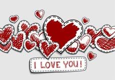 De kaart van de groet voor valentijnskaartendag Hand-drawn harten op een witte achtergrond stock illustratie