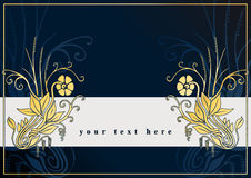 De kaart van groeten met gouden bloemen Stock Afbeelding