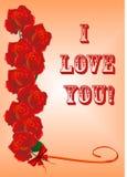 De kaart van groeten met rozen Royalty-vrije Stock Afbeelding