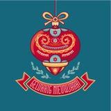 De kaart van groeten Nieuwjaar Gelukkig Holland Christmas-kaart Stock Fotografie
