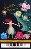 De kaart van de groetmuziek Zwarte overleg grote piano, gouden lint die, leuke fee, gordijn, ruimte, planeten, sterren, bloemen t stock illustratie