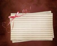 De kaart van Grunge met blad en roze boog Royalty-vrije Stock Afbeelding