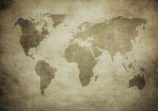 De kaart van Grunge van de wereld Stock Afbeeldingen