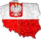 De kaart van Grungepolen met binnen vlag stock fotografie