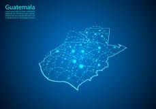 De kaart van Guatemala met knopen door lijnen worden verbonden die concept globale comm royalty-vrije illustratie