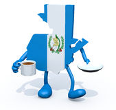 De kaart van Guatemala met kop van koffie op hand Stock Afbeeldingen