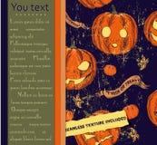 De kaart van Halloween en naadloze textuur met pompoenen. royalty-vrije illustratie