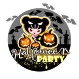 De kaart van Halloween met heks, pompoenen en knuppels Royalty-vrije Stock Fotografie