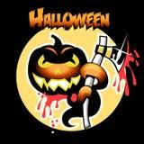 De kaart van Halloween met pompoen en bijl Stock Afbeeldingen