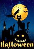De kaart van Halloween met zwarte kat Royalty-vrije Stock Afbeeldingen