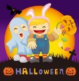 De kaart van Halloween van het beeldverhaal Stock Afbeeldingen