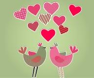 De kaart van harten en van vogels Stock Afbeelding