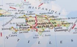 De kaart van Haïti en van de Dominicaanse Republiek Stock Fotografie