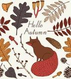 De kaart van de herfst Met extra formaat Vector illustratie Stock Foto
