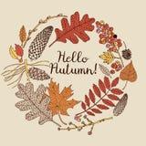 De kaart van de herfst Met extra formaat Vector illustratie Stock Afbeeldingen