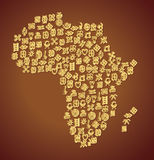 De Kaart van het Adinkrasymbool van Afrika Stock Afbeeldingen