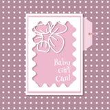 De kaart van het babymeisje op een roze achtergrond met punten Royalty-vrije Stock Foto