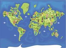 De kaart van het beeldverhaal van de wereld Stock Fotografie