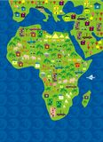 De kaart van het beeldverhaal van de wereld in vector Stock Afbeeldingen