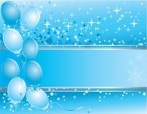 De kaart van het blauwe Nieuwjaar met ballons Stock Afbeeldingen