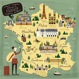 De kaart van het de reisconcept van Frankrijk stock illustratie