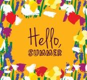 De kaart van het de zomerteken van het bloemenkader hello Stock Afbeeldingen