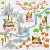 De kaart van het fantasieavontuur voor cartografie met kleurrijke krabbelhand trekt illustratie van Tentakelvallei vector illustratie