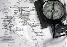 De Kaart van het Gebied van de baai met kompas Royalty-vrije Stock Foto's