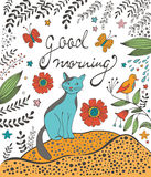 De kaart van het goedemorgenconcept met leuke kat Stock Foto