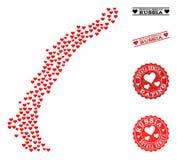 De Kaart van het hartmozaïek van de Eilanden van Novaya Zemlya en Grunge-Zegels voor Valentijnskaarten vector illustratie