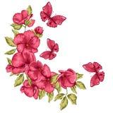 De kaart van het huwelijk Bloemen en vlinder Vector illustratie Groetkaart voor moedersdag Stock Foto's