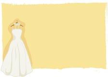 De kaart van het huwelijk - bruids toga Stock Fotografie