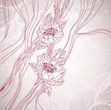 De kaart van het huwelijk met hand getrokken bloemen Stock Foto