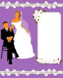 De kaart van het huwelijk met silhouetten van de bruid en de bruidegom Stock Afbeeldingen