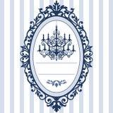 De kaart van het huwelijk met uitstekende kroonluchter Royalty-vrije Stock Afbeelding