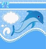 De kaart van het kinderdagverblijf van de aankondiging met dolfijnen Royalty-vrije Stock Foto's