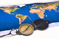 De kaart van het kompas en van de wereld Royalty-vrije Stock Fotografie