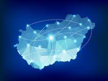 De kaart van het land van Hongarije veelhoekig met de plaatsen van vleklichten Stock Foto's