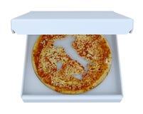 De kaart van het land van Italië op pizza binnen doos wordt bebouwd die Royalty-vrije Stock Foto's