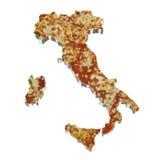 De kaart van het land van Italië op pizza wordt bebouwd die Royalty-vrije Stock Foto's