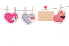 De kaart van het liefdebericht, van de de dagmoeder van de valentijnskaart de vorm van het de daghart Stock Afbeeldingen