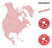 De Kaart van het liefdemozaïek van de Zegels van Noord-Amerika en Grunge-voor Valentijnskaarten vector illustratie