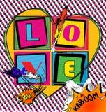 De Kaart van het liefdepop-art met grappige boekstijl Royalty-vrije Stock Afbeeldingen