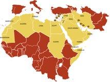 De kaart van het Midden-Oosten. Royalty-vrije Stock Foto