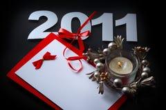 De kaart van het nieuwe jaar Stock Foto