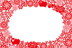 De kaart van het nieuwjaar met schapen en Japanse pictogrammen Royalty-vrije Stock Fotografie