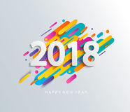 De kaart van het nieuwjaar 2018 ontwerp op moderne achtergrond Royalty-vrije Stock Foto
