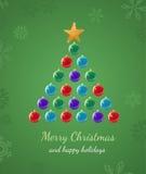 De Kaart van het Ornament van de kerstboom Stock Afbeeldingen