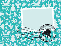 De Kaart van het Patroon van Kerstmis met Zegel Grunge Stock Afbeelding
