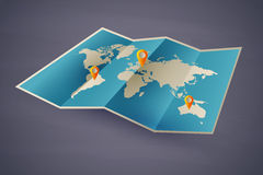 De kaart van het pictogram van de wereld. eps10 Stock Afbeelding